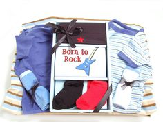Born To Rock Baby Boy Gift Basket