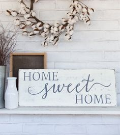 "Home sweet home, rustic wood sign, rustic wall decor, french country decor, 24"" x 9.25"" by CherieKaySigns on Etsy https://www.etsy.com/listing/401089083/home-sweet-home-rustic-wood-sign-rustic"
