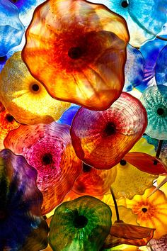 """/ Photo """"Bellagio"""" by Kenneth Verburg. It's part of the ceiling of the Bellagio Casino in Las Vegas. The Bellagio Lobby ceiling is adorned with hand-blown glass flowers - the Fiori di Como - created by world-renowned artist, Dale Chihuly. Dale Chihuly, Art Beauté, Drawn Art, Glass Flowers, Jolie Photo, Hand Blown Glass, Stained Glass, Fused Glass, Glass Art"""