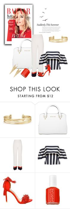 """""""Red hot"""" by balmahe ❤ liked on Polyvore featuring Stella & Dot, Michael Kors, River Island, Steve Madden, Essie, Jules Smith and red"""