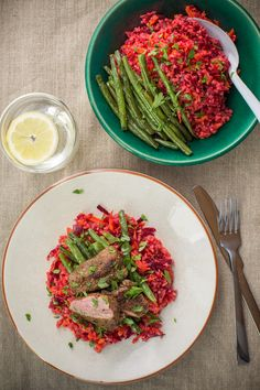 Grilled Lamb Steaks with Honey Roasted Beans and Beetroot Bulgur Salad