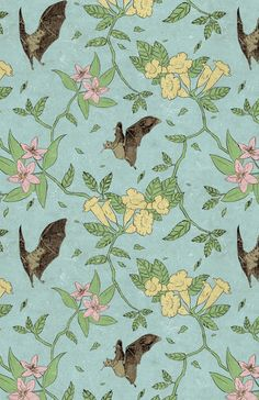 derekq-art:  Flowers and nectar bats, quite possibly the most grandma-esque pattern I've ever made.   10/10 would wallpaper entire house