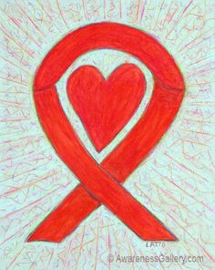 Red Awareness Ribbon Heart Art Painting meaning support for AIDS / HIV, Cardiovascular (Heart) Disease, Stroke, Alcohol Substance & Drug Abuse, Blood Cancer, MADD (Mothers Against Drunk Driving), DARE (Drug Abuse Resistance Education), Hemophilia, Disaster Relief, Marfan Syndrome, Epidermolysis Bullosa (EB), Hypertension (High Blood Pressure), Love, and more. Let this Red Ribbon help bring awareness to these causes!