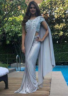 Jennifer Winget in Kalki grey draped lycra saree Saris, Saree Gown, Satin Saree, Lehenga, Saree Designs Party Wear, Saree Blouse Designs, Saree Draping Styles, Saree Styles, Drape Sarees