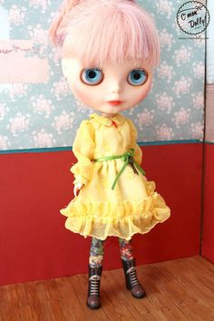 Blythe Licca Retro 60s Liberty Yellow Chiffon Dress by cmondolly