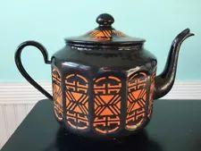 vintage Czech Czechoslovakia enamel enamelware art deco tea kettle pot
