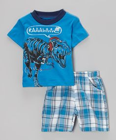 Look what I found on #zulily! Blue Plaid 'Raaawww' T-Rex Tee & Shorts - Infant, Toddler & Boys by Teddy Boom #zulilyfinds