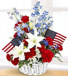 Patriotic Floral Arrangement for Memorial Day, Fourth of July, or Veteran's Day - Red, White & Blue! Fourth Of July Decor, 4th Of July Decorations, 4th Of July Wreath, July 4th, Grave Flowers, Church Flowers, Cemetery Flowers, Funeral Flowers, Flowers Garden