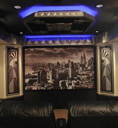 Theater alternative, view 2: Art Deco Theater, 3D home theater wall designed by Jack Fitzgerald with an actual black and white photo that was taken in 1931