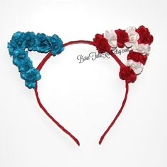 4th of July Cat Ears Meow ❤  Cat Ears with hand placed red, white & blue paper flowers. Hand painted with a touch of sparkle. Perfect for photos, parties or just everyday sass.  Both sides of the ears are covered. Handmade Accessories Hair Accessories