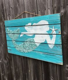 Mermaid Pallet Wood Sign LARGE Coastal Beach and by justbeachyshop