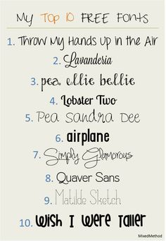 My Top 10 Free Fonts