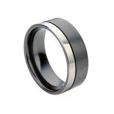 Two Tone Black Zirconium Wedding Ring