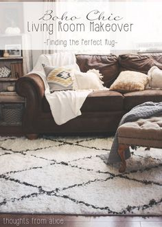 Thoughts from Alice: Boho Chic Living Room Makeover: Finding the Perfect Rug @rugsusa #sponsored