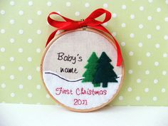 Baby's First Christmas personalized embroidered hanging hoop wall art, $20