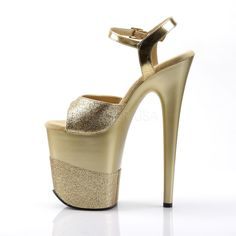 PLEASER Gold Glitter high heel platform sandals with ankle strap and glitter band across your foot. These sandals have a high front platform wi Ankle Strap Sandals, Ankle Straps, Bedroom Heels, Espadrilles, Platform High Heels, Gold Glitter, Flamingo, Stiletto Heels, Heeled Mules