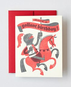 Gallant Birthday Letterpress Greeting Card designed by Esther Aarts for Hello!Lucky