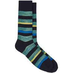 Barneys New York Men's Striped Cotton-Blend Mid-Calf Socks ($35) ❤ liked on Polyvore featuring men's fashion, men's clothing, men's socks, navy, mens socks and mens striped socks