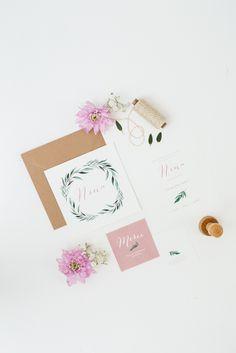 """Papeterie de Naissance par Monsieur Plus Madame / June and Jane - Modèle """"Eucalyptus"""" Coloris rose - Disponible sur devis uniquement."""