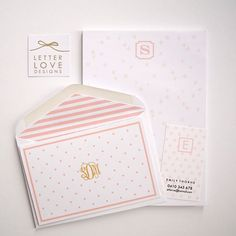 Personalized Folded Cards - Polka Dot  - Choose your own Monogram - Stripe Lined Envelopes (10) #letterlovedesigns #monogram