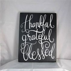 Inspirational Wood Sign Thankful Grateful & Blessed...