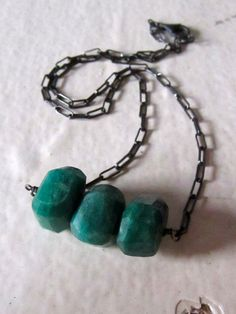 emerald necklace, oxidized sterling silver, handmade.