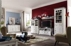 Wohnwand Mit Sideboard Kiefer Massiv Weiss / White Sanded Woody 41 00780  Landhaus Jetzt Bestellen Unter: Https://moebel.ladendirekt.de/wohnzimmer/schraenke/  ...