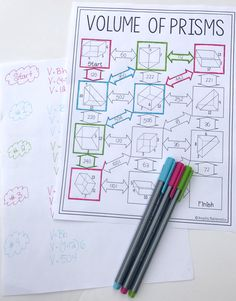 This Volume of Prisms maze was the perfect review worksheet!  Both my 7th grade math student and my 8th grade math students enjoyed this review worksheet activity.  I will definitely be using this again every year when I teach my geometry unit on Volume of prisms.