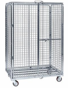 A senior size lockable wire container with bright surface, four black casters and double doors. Warehouse Equipment, Container Dimensions, Roll Cage, Stainless Steel Wire, Wire Mesh, Double Doors, Stool, Surface, Concept