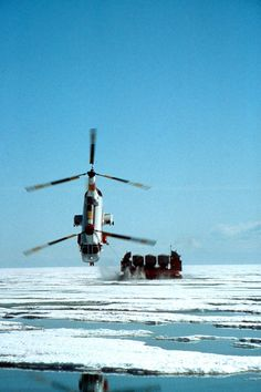 Columbia Helicopters Boeing Vertol 107-II This photograph is one of longtime Columbia Helicopters' photographer Ted Veal's most famous photographs. The use of a powerful telephoto lens makes it appear as though the helicopter is closer to the ice than is actually the case. Hover Barge Tow Photo more info… http://www.colheli.com/news/the_hover_barge/