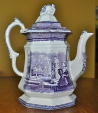 Rare Antique Purple Transferware Staffordshire Ironstone Teapot Holland Carrara