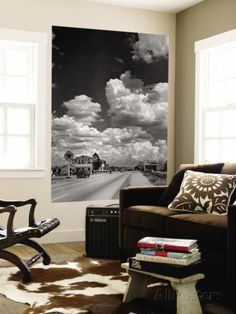 Cumulus Clouds Billowing over Texaco Gas Station along a Stretch of Highway US 66 Wall Mural by Andreas Feininger at AllPosters.com