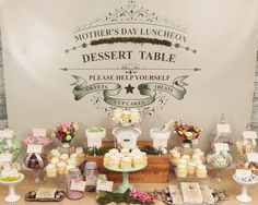 """Photo 2 of 50: lollies & cupcakes in a vintage garden setting / Mother's Day """"Mother's Day Garden sweets table"""""""