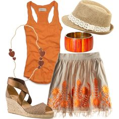 Warm-toned spring/summer outfit with natural materials and textures.
