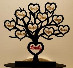 AHDD FT10 Hearts - Laser Cut MDF PAINTED Family Tree