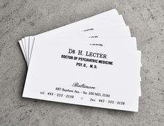 Hannibal Business Cards for Hannibal Cosplay https://www.etsy.com/listing/198642772/