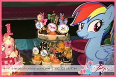 My Little Pony Garden Birthday Party decoration, themed table & cupcake toppers with Little pony cutouts. #mylittlepony #partyideas #tulipsevent #partythemes Design & Arranged by: www.thematicbirthdayplanner.com