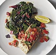 Grilled Striped Bass with Summer Tomatoes and Horta