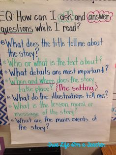 Asking and Answering Questions Anchor Chart for Reading