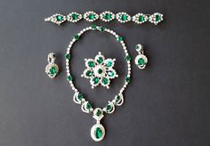 KRAMER NY Emerald Rhinestone Parure { Green Necklace Bracelet Earrings Brooch Bridal Jewelry Vintage Signed Runway Diamante 1950s 50s Set}