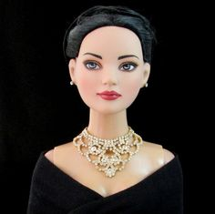 """Doll jewelry for Tonner American Model, BJD, and other 22"""" fashion dolls by SohoDolls, Rhinestone necklace and earrings"""