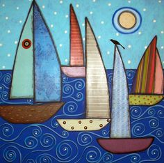 5Sailboats&ABird; by Karla Gerard