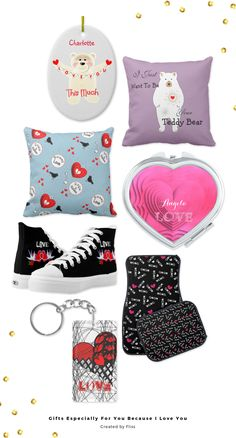 A Collection of gift ideas for that special person in your life be it your wife, girlfriend, husband, boyfriend or partner.Lots of cute, romantic designs with love hearts, love birds, love words text graphicsand cuddly teddy bears on various products like novelty mugs, necklaces, compact mirrors, wallets, cuff links, watches, phone cases, posters, cushions and much more.Of course I have included some gifts and cards for Valentines Day too which can all be customized with personal names and…