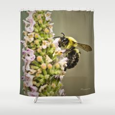 A Bumble Bee Working Shower Curtain by Photography By MsJudi - $68.00