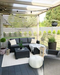 36 Enchanting Modern Patio Design Ideas That You Will Love - Setting up your patio furniture is not enough it would be nice if you embellish it with outdoor accents and accessories for a stylish and fabulous loo. Small Patio Furniture, Patio Furniture Makeover, Outdoor Furniture Sets, Outdoor Decor, Furniture Layout, Outdoor Living, Midcentury Outdoor Furniture, Furniture Design, Garden Furniture Sets