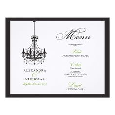 Chandelier Wedding Reception Cards :custom: Chandelier Wedding Reception Menu Card