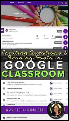 Google Classroom™️ tutorial: Learn how to use the question feature as bell ringers or exit slips and reuse a post from previous years, other classes, or earlier posts. Great time-saving tips.