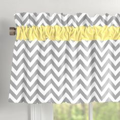 Gray and Yellow Zig Zag Window Valance with Accent Trim #carouseldesigns