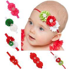9541c55523 ZHW Baby Girl Christmas Elastic Headbands Hair Bows 6 Pack. Material:  Cotton. Good