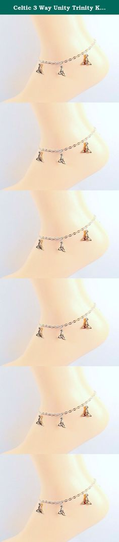 Celtic 3 Way Unity Trinity Knot Anklet - Triquetra Silver-tone Platinum Ankle Bracelet - Sizes 8-11. The Triquetra knot is a Celtic knot that has a few different meanings all related to threes and unity, making it the perfect gift for a good friend, or anyone of Irish heritage. Available in sizes 8-11 please utilize customization to determine your correct size. To determine proper size measure ankle just below ankle bone and add 1/2 inch. Your anklet will arrive in a lovely gift box just...